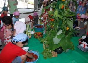 野菜タワーの前でミニトマト
