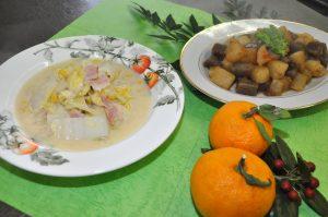 白菜のクリーム煮&ピリ辛ころころ大根とこんにゃく