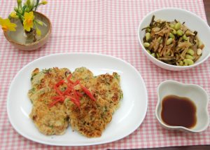 納豆とタコの赤ネギ焼き&青ダイズのひたし豆